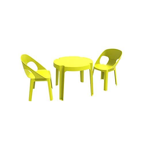 resol Rita set infantil de 2 sillas y 1 mesa para interior, exterior, jardin - color verde lima
