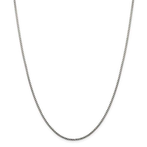925 Sterling Silver 1.7mm Round Diamond-Cut Fancy Box Chain Necklace (Fancy Lobster Clasp)