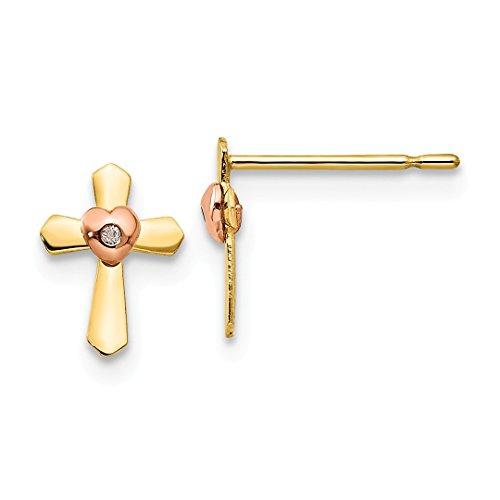 14k Yellow Rose Gold Childrens Cross Religious Heart Post Stud Earrings Love Fine Jewelry For Women Gift Set