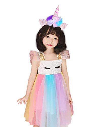 Cuteshower Girl Unicorn Costume, Baby Unicorn Tutu Dress Outfit Princess Party Costumes with Headband and Wings (3-4 Years, Rainbow Sequin) ()