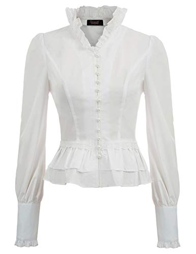 Ruffle Shirt Collar Stand (Women Gothic Corset Style Lace Up Top Victorian Blouse Tops White XL)