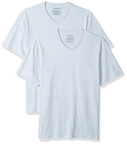 Amazon Essentials Men's 2-Pack Loose-fit V-Neck Pocket T-Shirt, Light Blue, Small