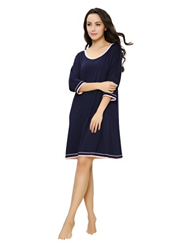 GYS Women's Lightweight Bamboo Lounge Nightgown XL , Purplish blue , X-Large