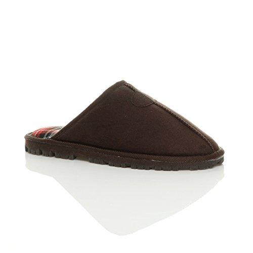 Ajvani - Zapatillas de estar por casa para mujer Mens Brown Check