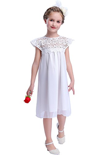 Bow Dream Vintage Rustic Baptism Lace Flower Girl's Dress White 2T