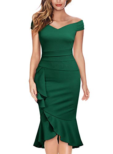 Knitee Off Shoulder V-Neck Ruffle Pleat Waist Bodycon Evening Cocktail Slit Dress,Large,Dark Green
