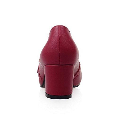 Puntera Mujer Sólido Puntera AllhqFashion Cuadrada Rojo Hebilla Suave Salón Tacón De Material Medio Cerrada zXqwdrX