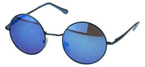 Sense42 Retro Sonnenbrille runde Gläser mit blauen Rahmen blau verspiegelte Gläser, flexible Federscharnierbügel, Vintage Lennon Nerdbrille Damen Herren Unisex mit Brillenbeutel