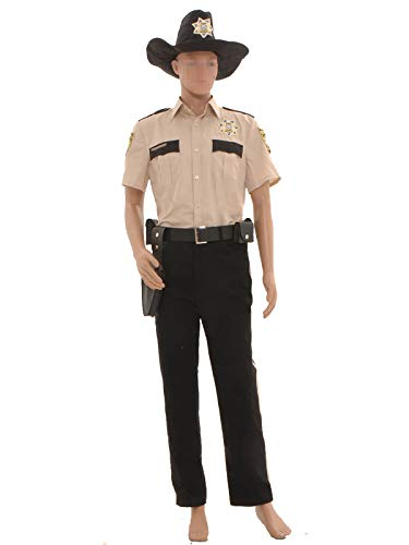 GOTEDDY Men's Rick Grimes Halloween Cosplay Costume Outfit Uniform Suit Set L]()