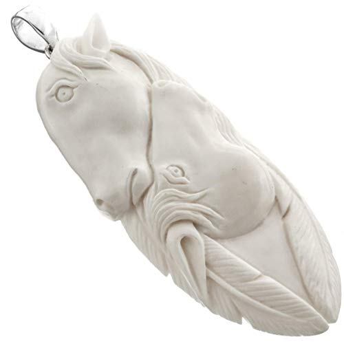 3 3/8'' Hand Carving Feather Horse Bison Bone 925 Sterling Silver Pendant YE-2286