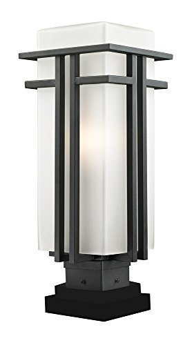 Z-Lite 549PHB-SQPM-BK Outdoor Pier Mount Light, Matte Opal shade Black Aluminum Finish by Z-Lite by Z-Lite