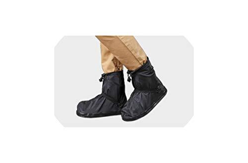 Unisex 25.5-32Cm Eusable Rain Shoe Covers Flat Waterproof Overshoes Anti-Slip Rain Boot Gear,Black,S