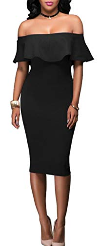 Per Bodycon Ruffle Yahuyaka Midi Sleeve Shouler PartycolorPurpleSize Frill Sexy Donna Dress MBlack Bardot Off 9DIWHE2