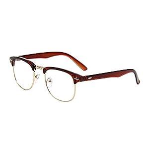 Shiratori New Vintage Classic Half Frame Semi-Rimless Wayfarer Clear Lens Glasses brown