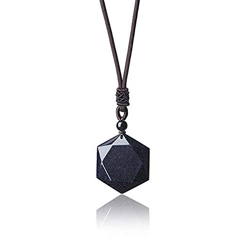 JewelBeauty 925 Black Obsidian/Blue Sandstone Star of David Pendant Hexagram Amulet Gemstone Stainless Steel Titanium Necklace Jewish Religious Jewelry (Blue Goldstone)