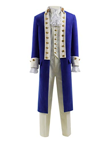 TISEA Men's Alexander Hamilton Stage Show Cosplay Costume (Blue, Custom Made)]()