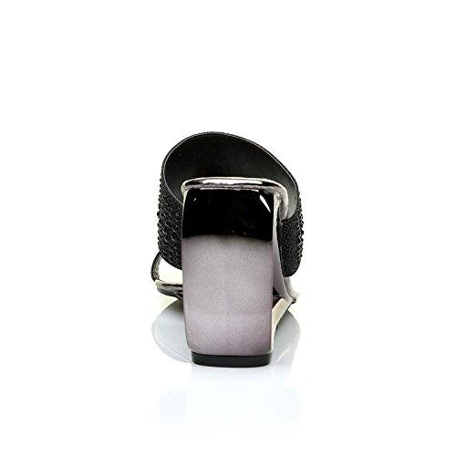 ShuWish UK Cairo Sleek Metallic Black Cut Out Diamante Shimmer Wedge Sandals XLUEk2YjTt
