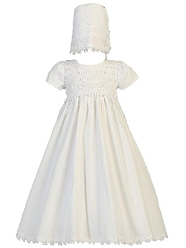 Baby Girl White Cotton Smocked Gown Christening Dress with Bonnet 6-9Mos