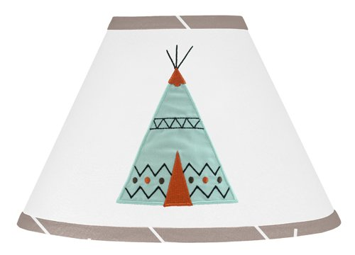 Sweet Jojo Designs Aqua Blue and Gray Outdoor Adventure Teepee Baby, Childrens Lamp Shade (Lamp Shade Boy Baby)