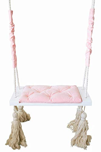Krasivo Baby Swing Set with Cushion and Cotton Rope, Wooden Swing Set for Toddlers and Infants, Adjustable Wooden Tree Swings for Indoor, Nursery, Garden, Yard, Backyard, Outdoor, 253lbs Capacity