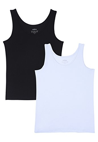 Vislivin Womens Supersoft Camisole Stretch Casual Tank Tops Black/White M ()
