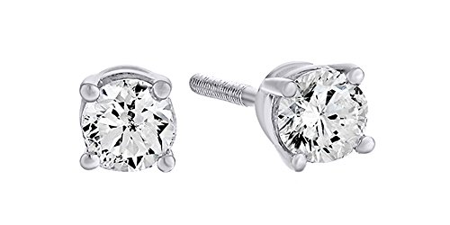 - 14K Solid White Gold Natural Diamond Solitaire Stud Earrings With Screw Back (0.25 Ct)