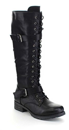 Buckled Black Lace High Women's Vegan Knee Fourever Up Funky Boots Leather Faux Heel w7agXxIq
