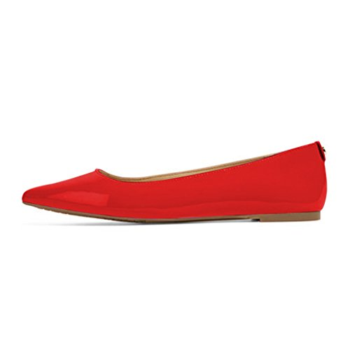 XYD Women Casual Pointed Toe Flats Slip On Patent Leather Ballet Driving Loafer Dress Shoes Red