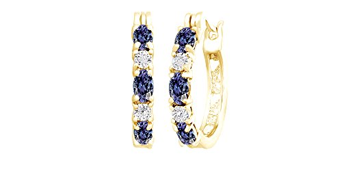 Blue Simulated Tanzanite and White Cubic Zirconia Hoop Earrings In 14k Yellow Gold Over Sterling Silver 14k Yellow Gold Tanzanite Earrings