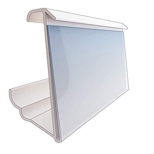 Holds 1.25 Inch Tall Labels Shelf Label Holder MEW for Metro Wire Shelving Easy Snap On Pack of 50 Price Tag Holders 3 Inches Wide Three Viewing Angles