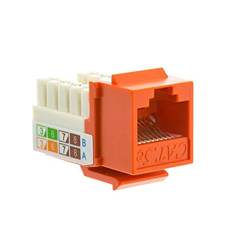 GOWOS (20-Pack) Cat5e Keystone Jack, Orange, RJ45 Female to 110 Punch Down