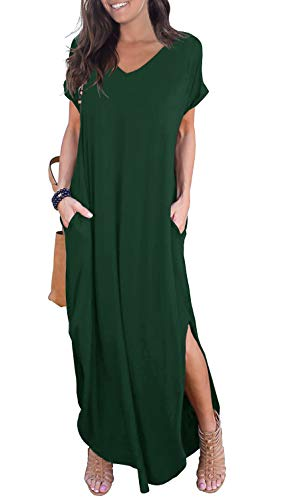 GRECERELLE Women's Casual Loose Pocket Long Dress Short Sleeve Split Maxi Dress Dark Green ()