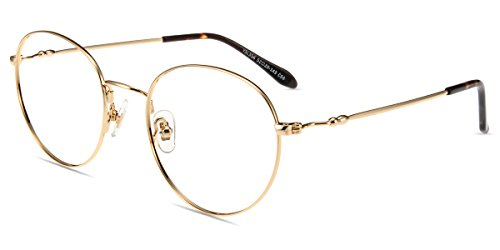 Firmoo Blue Light Blocking Glasses, Non Prescription Computer Eyeglasses Vintage Retro Round Metal Frame, Readers Glasses (Gold, 0.0)