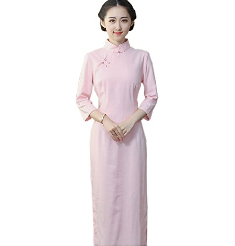Manche Rose Qipao Traditionnelle Pure Acvip Femme Cheongsam Couleur 3 4 Avec Chinoise Robe Longue ZgXn4xOH