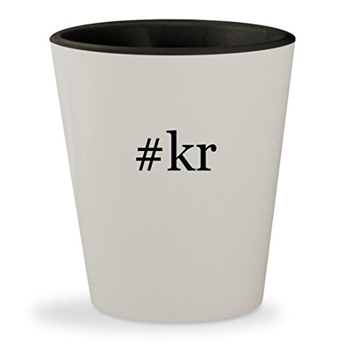 #kr - Hashtag White Outer & Black Inner Ceramic 1.5oz Shot Glass