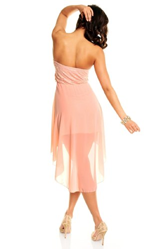 Sexy Vokuhila Partykleid, Abendkleid, Cocktailkleid aus Chiffon rosa