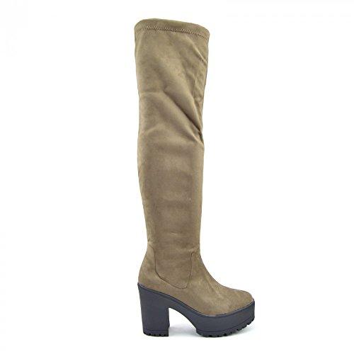 Damen Frauen Schwarz Sexy Over Knee High Block Heel kniehohe Reißverschluss-Stiefel Taupe
