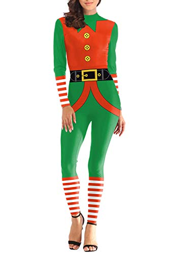 Selowin Ladies Novelties Elf Pattern 1PC Christmas Costume Outfit for Women Plus Size Orange -