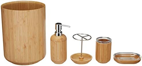 AmazonBasics 5 pezzi – Set Vanity da bagno in bambù – rotonda