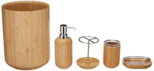 AmazonBasics 5-Piece Bamboo Bathroom Vanity Accessories Set, Round ()