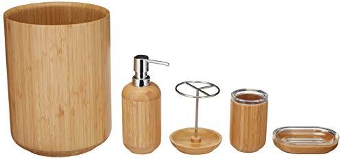 AmazonBasics 5-Piece Bamboo Bathroom Vanity Accessories Set, Round (5 Piece Bathroom Vanity Set)