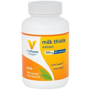 The Vitamin Shoppe Milk Thistle Extract 300mg Capsules, Silymarin Extract for Healthy Liver Support – Seed/Fruit Once Daily Complex for Detoxification Pathways, and Overall Liver Health (100 Capsules)