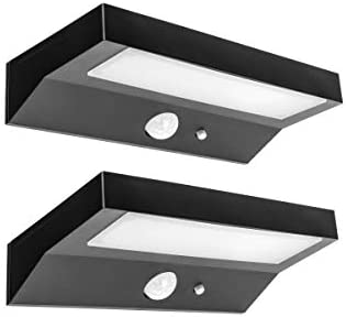 Hyperikon LED Solar Lights Outdoor, Full Cut Off, Wall Pack Fence Sconce, 4000K Daylight, PIR and Photocell Sensor, UL, 2 Pack
