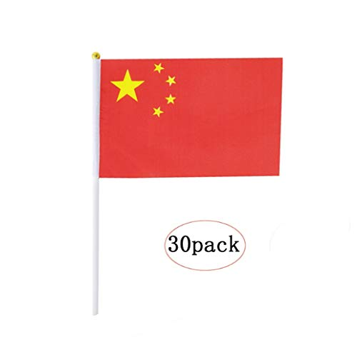 China Stick Flag,Chinese Hand Held Mini Small Flags On Stick International Country World Stick Flags For Party Classroom Garden Olympics Festival Sports Clubs Parades Parties Desk Decorations(30 pack)