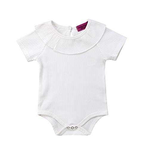 B. Bone Baby Girls Boys Short Sleeve Solid Ruffle Cotton Jumpsuit Kids Toddler Round Neck Bodysuit(Beige,24M)