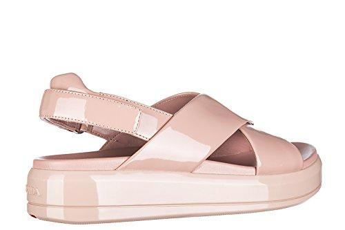mujer Prada nuevo en soft sandalias piel rosa pintar 88rOaq5wx