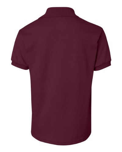[Hanes Kids' Cotton-Blend Jersey Polo,,Maroon,,M] (Maroon Kids Shirt)