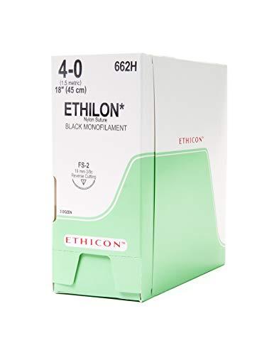 Ethicon ETHILON Nylon Suture, 662H, Synthetic Non-absorbable, FS-2 (19 mm), 3/8 Circle Needle, Size 4-0, 18