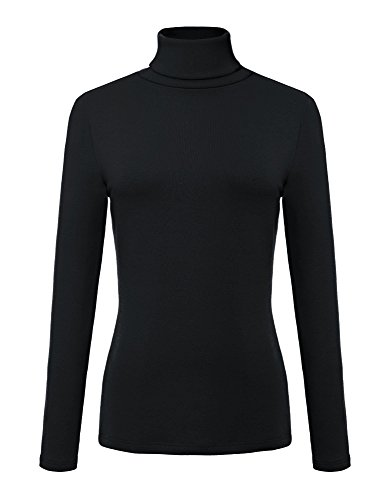 - Urban CoCo Women's Solid Turtleneck Long Sleeve Sweatshirt (XL, Black)