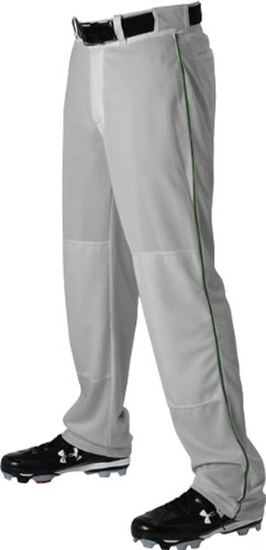 Alleson Ahtletic Men's Baseball Pants with braid, Grey/Dark Green, Small ()